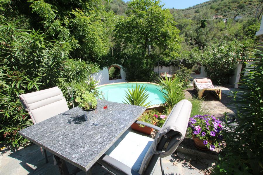 Till salu en olivoljekvarn med pool och exotisk trädgård